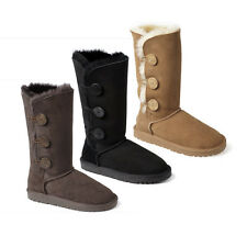 New Ozwear UGG Premium Sheepskin 3 Button Long Boots Black Chocolate Chestnut