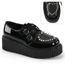 Demonia CREEPER-108 Black Platform Heart Cutout Spikes Flats Oxford Shoes