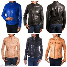 Ladies Nappa And Croc Patterned Leather Smart Vintage Fitted Retro Biker Jacket