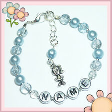 Girls Baby Personalised Silver Little Charm Bead Friendship Bracelet Gift BR02
