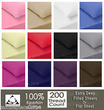 Luxury 100% Egyptian Cotton Fitted Sheets Flat Sheet 200TC Single Double King