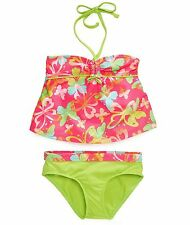 Pink Platinum Little Girls Pink & Green Butterfly Tankini Swimsuit Bathing Suit