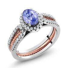 1.37 Ct Oval Tanzanite 925 Two-Tone Sterling Silver Wedding Band Insert Ring
