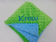 Handmade, Personalized Minky Baby Blanket - Lime Green and Turquoise Blue