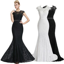 White/ Black Mermaid Lace Long Prom Formal Dress Evening Bridesmaid Wedding Gown