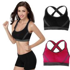 WOMENS SEAMLESS LEISURE COMFY CROP TOP VEST SPORTS YOGA GYM BRAS PADDED PLUS