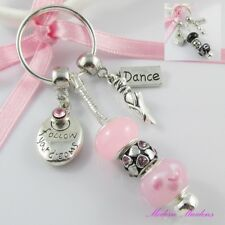 European Bead Follow your Dreams and Dance Charm Keychain Keyring Select Colour