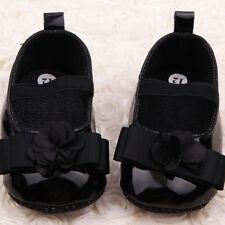 0-12M Newborn Kids Baby Girl Shoes PU Leather Ribbon Flower Crib Shoes Gifts O93