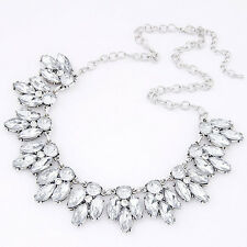 Womens Crystal Bib Collar Chunky Statement Pendant Chain Choker Necklace Jewelry