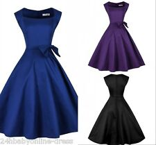 Women 1950s 50s Vintage Hepburn Rockabilly Evening Prom Party Casual Swing Dress