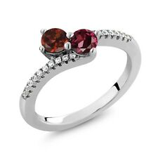 0.98 Ct Round Red Garnet Red Rhodolite Garnet Two Stone 925 Sterling Silver Ring