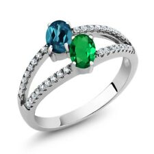 1.31 Ct London Blue Topaz Simulated Emerald Two Stone 925 Sterling Silver Ring