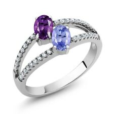 1.21 Ct Oval Purple Amethyst Blue Tanzanite Two Stone 925 Sterling Silver Ring
