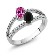 1.30 Ct Oval Pink Created Sapphire Black Onyx Two Stone 925 Sterling Silver Ring