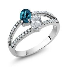 1.41 Ct Oval London Blue Topaz White Topaz Two Stone 925 Sterling Silver Ring