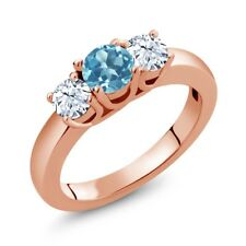 1.16 Ct Round Swiss Blue Topaz White Topaz 18K Rose Gold Plated Silver Ring