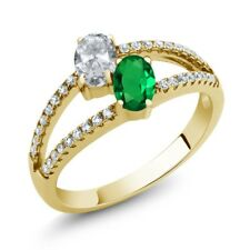 1.31 Ct White Topaz Simulated Emerald 18K Yellow Gold Plated Silver Ring