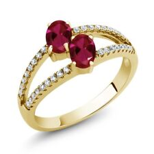 1.41 Ct Oval Red Created Ruby Two Stone 18K Yellow Gold Plated Silver Ring
