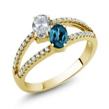 1.41 Ct White Topaz London Blue Topaz 18K Yellow Gold Plated Silver Ring