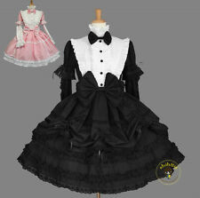 Ladies Gothic Princess Cotton Lace Bow Layered Cosplay Lolita Dress Costume #Y6