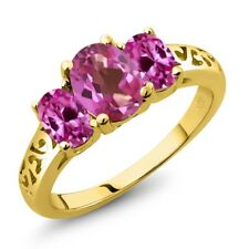 2.30 Ct  Pink Mystic Topaz & Created Sapphire 18K Yellow Gold Plated Silver Ring