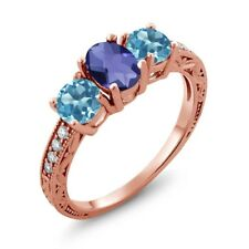 1.77 Ct Checkerboard Blue Iolite and Blue Topaz 18K Rose Gold Plated Silver Ring
