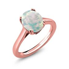 2.03 Ct Cabochon Opal & White Created Sapphire 18K Rose Gold Plated Silver Ring