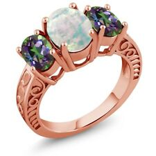 2.20 Ct Cabochon White Opal Green Mystic Topaz 18K Rose Gold Plated Silver Ring