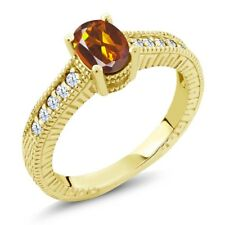 1.10 Ct Orange Red Madeira Citrine and Topaz 18K Yellow Gold Plated Silver Ring