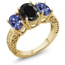 4.14 Ct Black Sapphire Mystic Topaz 18K Yellow Gold Plated Silver Ring