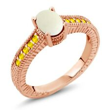 1.13 Ct Cabochon White Opal Yellow Sapphire 18K Rose Gold Plated Silver Ring