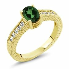 1.12 Ct Mystic Topaz White Sapphire 18K Yellow Gold Plated Silver Ring