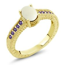 1.03 Ct Cabochon White Opal Purple Amethyst 18K Yellow Gold Plated Silver Ring