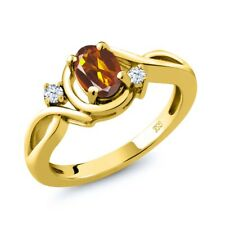 0.78 Ct Orange Red Madeira Citrine and Topaz 18K Yellow Gold Plated Silver Ring