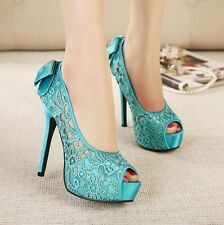 Womens Sexy Lace Hollow Open Toe Bowknot Sandals High Heels Pumps Wedding Shoes