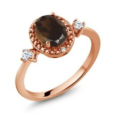 1.31 Ct Smoky Quartz White Created Sapphire 18K Rose Gold Plated Silver Ring