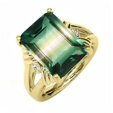 7.75 Ct Created Quartz White Sapphire 18K Yellow Gold Plated Silver Ring