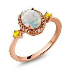 1.23 Ct Cabochon White Opal Yellow Sapphire 18K Rose Gold Plated Silver Ring