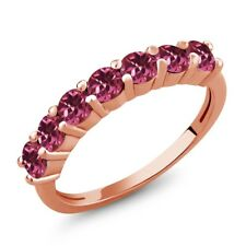 1.05 Ct Round Pink Tourmaline 18K Rose Gold Plated Silver Ring