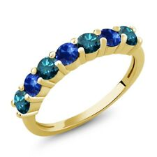1.32 Ct Round Blue Diamond Blue Sapphire 18K Yellow Gold Plated Silver Ring