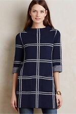 NEW Anthropologie Paned Sweater Tunic by Moth, Navy/Ivory, Size L, XL