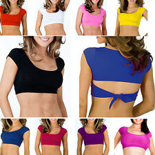 Crop Top Scoop Neck Casual Blouse T-Shirt Short Cap Sleeve Mid-Back Tie Yoga