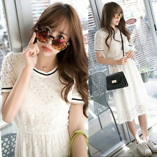 Summer Trendy Womens Casual Lace Hollow Out Slim Short Sleeve Bodycon Long Dress