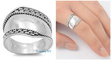 Sterling Silver 925 LADIES MEN'S BALI SILVER DESIGN BAND RING 16MM SIZES 6-12