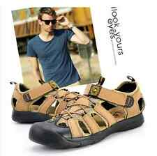 2016 Mens Leather Fisherman Beach Summer Outdoor Sports Sandals Waterproof Shoes