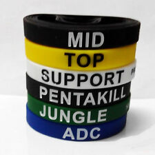 6 Pcs League of Legends Top ADC Jungle Mid Support Silicone Bracelet Wristband