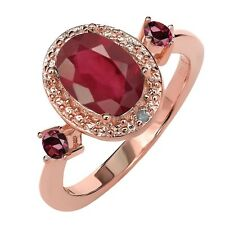 1.69 Ct African Red Ruby Red Rhodolite Garnet 18K Rose Gold Plated Silver Ring