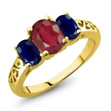 2.60 Ct Oval African Red Ruby Blue Sapphire 14K Yellow Gold Ring