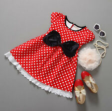 Girls Red Polka Dot Black Bow Dress Minnie Mouse Party Costume 2T 3T 4T 5 6