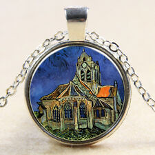Van Gogh The Church At Auvers Oil Painting Glass Art Pendant Chain Necklace